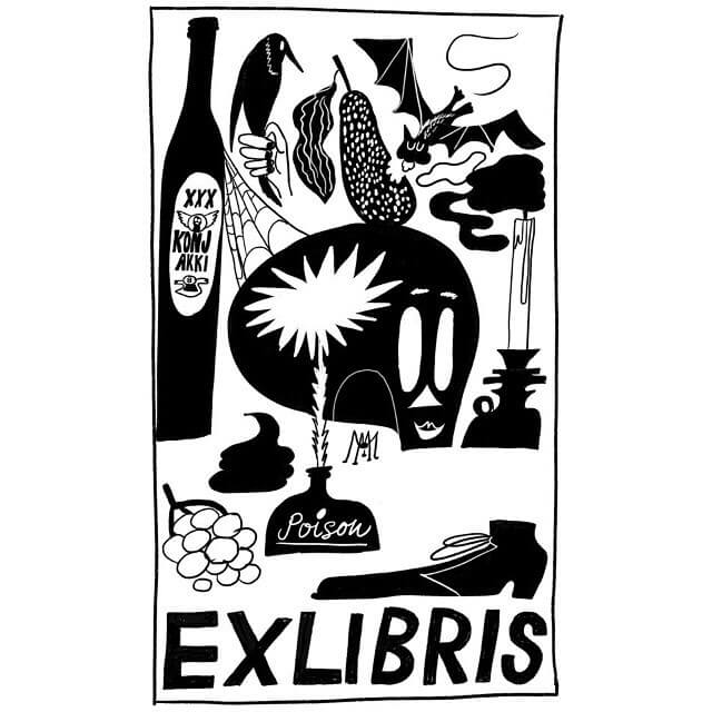 @sannamander is creating bookplates today and tomorrow  at the @helsinki_lit festival. Grab a ready-made design or order a customised piece at the Ex Libris kiosk!