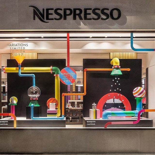 We love @craigandkarl's stunning window installations in the @nespresso Regent Street London store. #nespresso #craigandkarl