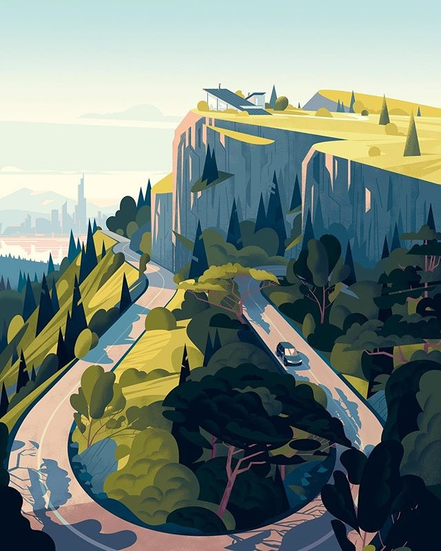 @cruschiform's beautiful cover illustration for @landrover's Onelife magazine. #LandRover #landscape #illustration