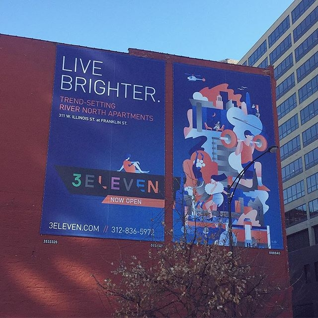 We recently worked with @janinerewell and @otherwiseinc on a set of illustrations for a new high-end apartment building in Chicago called @3elevenchicago. The work is now slowly rolling out. Here's a billboard with one of Janine's artworks. #illustration #agentpekka #janinerewell