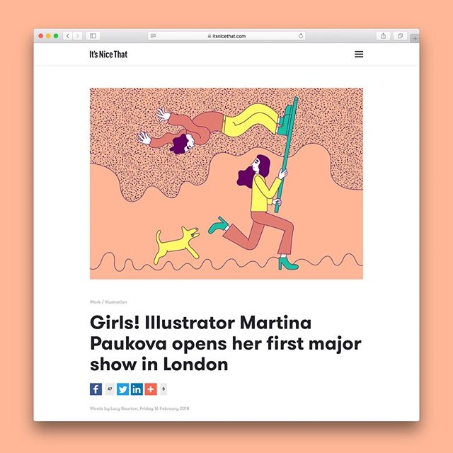 Nice! @martinapaukova's fab solo show gets featured on @itsnicethat. The exhibition is on until April 8 at @thebookclubec2. If in London, do yourself a favour and go have a look-see. #agentpekka #martinapaukova #girls